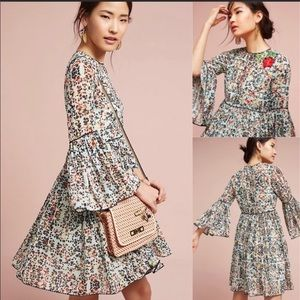 😍Anthropologie Libra embroidered tunic dress